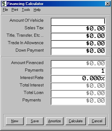 planet earth autos finance calculator